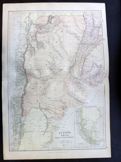 Blackie & Weller 1882 Antique Map. Argentina, La Plata, Chile, Paraguay, Uruguay.